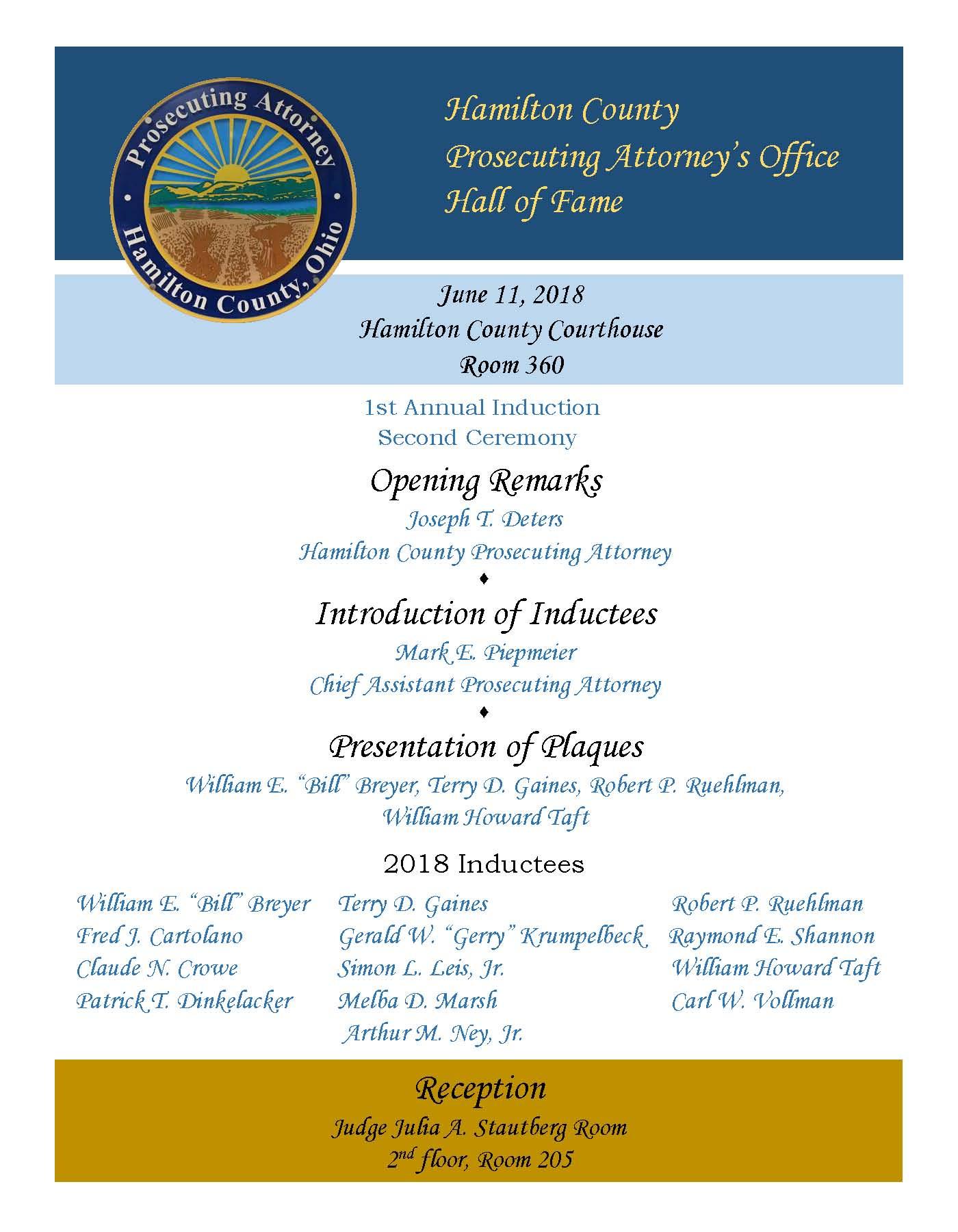 June 11, 2018 Prosecutors Hall of Fame